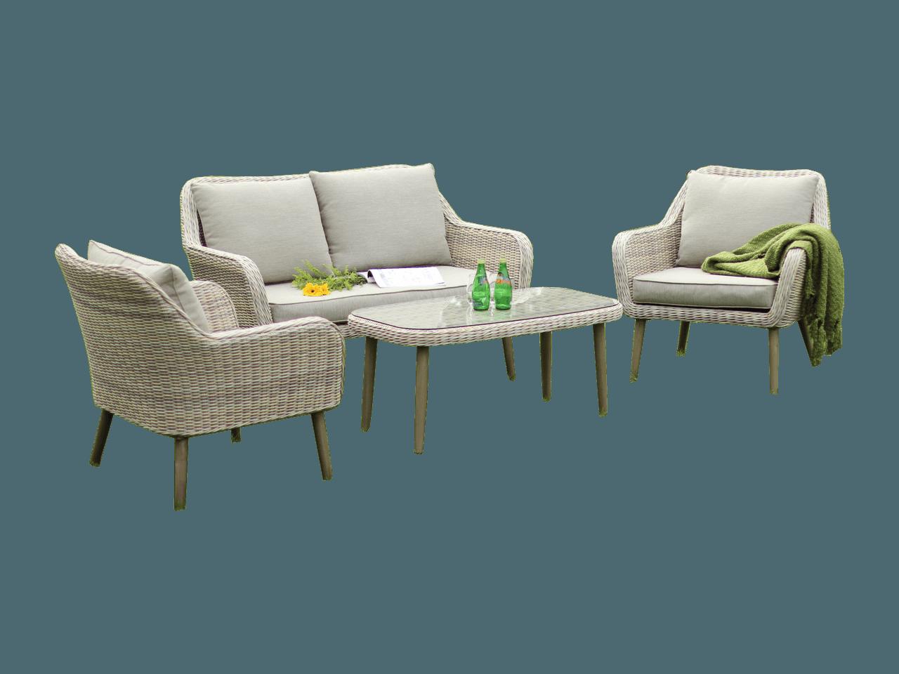Wicker Rotan Tuinstoelen.Milan Loungeset Teak Deco
